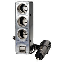 WF-036 3-socket USB Vehicle Power Supply Expansion Adapter Cigarette Lighter Charger (Silver)