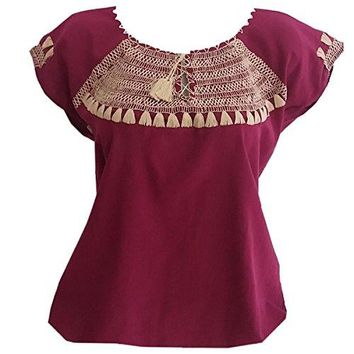 Embroidered Blouse Artisans Handmade Peasant Cotton Autentic Clothing Shirt Free Bonus Size M