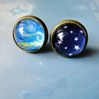 [ grdx02061]Cool Sky Stars Oil Paiting Earrings For Two
