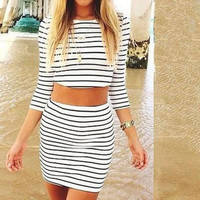 Women Sexy Celeb Bodycon Striped Bandage Crop Tops and Short Mini Skirt Female 2 Piece Clothing Set Girls Party Clothes