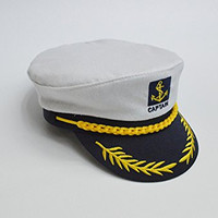 Kobwa(TM) Adult Yacht Boat Embroidery Sailor Marine Captain Costume Hat with Kobwa's Keyring