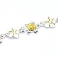 """YELLOW GOLD PLATED 2T SILVER 925 HAWAIIAN BABY TURTLE 6MM PLUMERIA ANKLET 9 1/2"""""""