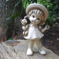 Vintage Girl & Cat Wolin Japan Figurine Child Decor 1960s