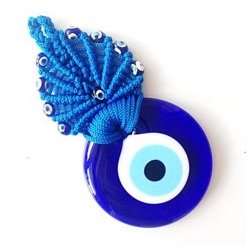 Evil eye wall hanging - blue macrame wall hanging - evil eye charm - Turkish evil eye