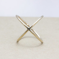 X ring with gold filled (18 Gauge)