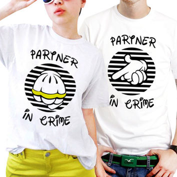 Partner In Crime Couples Matching Shirts, Couples T Shirts, Funny Couple Shirts