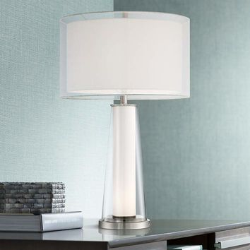 Bruno Clear Glass with Frosted Inner Nightlight Table Lamp - #16X61 | Lamps Plus
