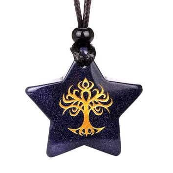 Magical Super Star Tree of Life Celtic Powers Amulet Goldstone Lucky Charm Pendant Necklace