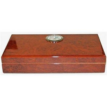 Burl Wood Polished Finish Travel  Cigar Humidor  Holds 4 Cigars w/ Humidifier