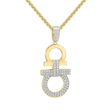 """Hip Hop Designer Iced Out AA Pendant 14k Gold Finish with free 24"""" Box Chain"""