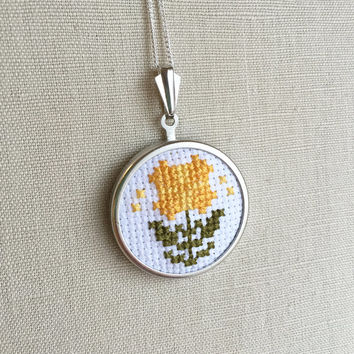 Cross Stitch Daisy Necklace Daisy Jewelry Embroidered Flower Pin or Pendant Yellow Stitched Daisy Pendant