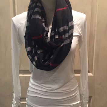 Plaid Print Frayed Infinity(2 colors)