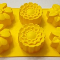 Silicone FLOWERS Mold Pan for Arts and Crafts and for Baking: Muffins, Cupcakes, Jello, Bread, Desserts - 6 Cavity Mold - By Polymerose T.M.