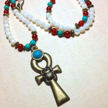 Egyptian Ankh Necklace | Mother of Pearl, Carnelian, Turquoise Howlite | Ankh Cross | Isis | Cleopatra | Egyptian Jewelry | Ankh Jewelry