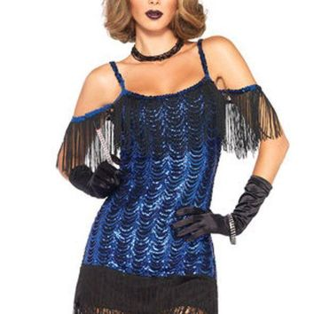 MDIGH3W 2PC.Gatsby Flapper,waterfall sequin dress and headband in BLACK/BLUE