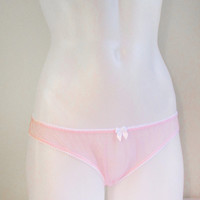 Sheer knickers - pink nylon transparent panties, see-through frilly knicker panty with bow, pastel lolita undies underwear sheer girly