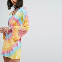 Rokoko Swing Dress With Wide Sleeves And Choker Neck In Tie-Dye at asos.com