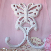 Shabby Chic Spring Cast Double Iron Butterfly Hook in White