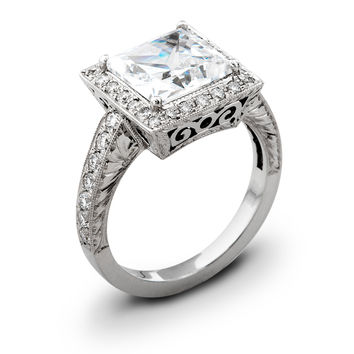 Ladies Vintage Platinum engagement ring 0.50 ctw G-VS2 quality diamonds and 2ct Princess Cut natural white sapphire