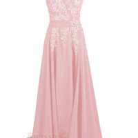 Applique Details Candy Pink Chiffon Long Formal Dres Am63