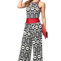 Abstract Allusions Burgundy Contrast Jump Suit