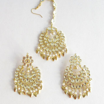 Gold Jadau Kundan Earrings tikka Pipal Patti Set/ Tikka Set/Indian Punjabi Muslim Mughal Bridal Wedding Online/Jadau Jewelry Online US
