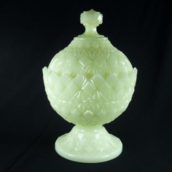 Fenton Custard Glass Candy Dish Olde Virginia Fine Cut & Block Pattern