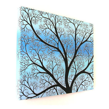 Winter Branches Tree Silhouette acrylic painting (UK only)