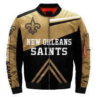 USA Size Men's 3D Jacket Thicken New Orleans Over printing Saints Bomber Jacket Coat Costume Made 3D Flight MA-1 jacket