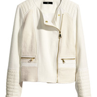 H&M - Cotton-blend Biker Jacket - Natural white - Ladies