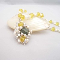 Sunshine Citrine,Freshwater Pearls and Serpentine Necklace,Wire Wriapped Pendant