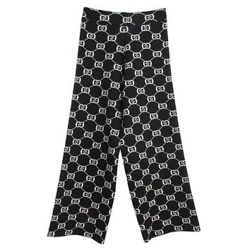GUCCI Autumn Winter New Popular Women Casual Double G Letter Jacquard Knit Pants Trousers