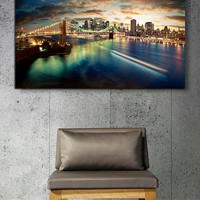 """Canvas Print Artwork Stretched Gallery Wrapped Wall Art Painting New York Night City Town Brooklyn Bridge America Large Size 28x42"""" (can8)"""