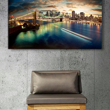 "Canvas Print Artwork Stretched Gallery Wrapped Wall Art Painting New York Night City Town Brooklyn Bridge America Large Size 28x42"" (can8)"