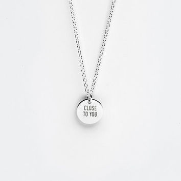 Personalized Sterling Silver Message Charm Necklace - Inspirational Gift - Custom Quote Jewelry - 9mm - Minimalist Jewelry LITTIONARY