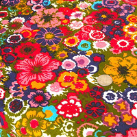"Vintage Fabric - Colorful Flower Garden - 5th Avenue - By the Yard x 48""W - 1960's - Retro Sewing Material - Autumn - Harvest - Decor"