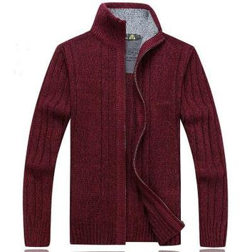 Full zip track jacket style mens sweater long sleeve knitted collared