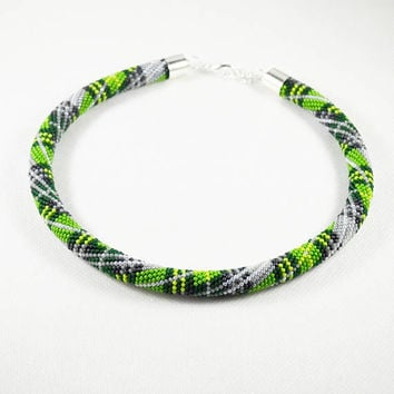 Green Scottish Tartan necklace Seed beads crochet rope beaded necklace Tube Crochet necklace friend from mother gift womens glass beads