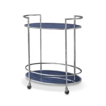 Maci Bar Cart in Cobalt