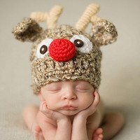 Cartoon Deer Newborn Infant Baby Knit Crochet Hat Photography Prop Costume Cap Beanie XDT57 (Size: 6-9m, Color: Brown) = 1958345412