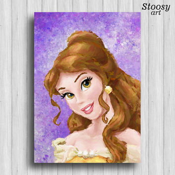 Princess Belle poster disney princess watercolor