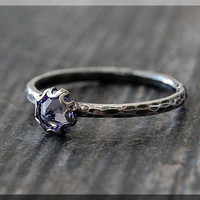 Tanzanite Ring, READY TO SHIP, June Birthstone Ring, Mini Inverted Gemstone Ring, Sterling Silver Ring, Stacking Ring, June Birthstone Ring
