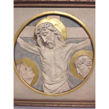 19th/20thc French Plaster Cast Christ Passion Gilt Relief Plaque