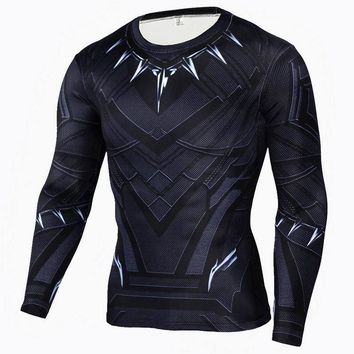 Black Panther Cosplay Costumes Men Long Sleeve T-shirts America Civil War Tee Adult Halloween Costumes Compression Male Top