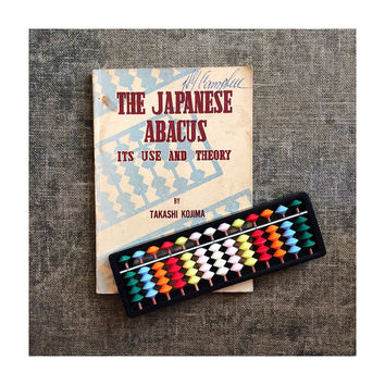 Vintage Abacus with Bright Counting Beads and Instruction Book