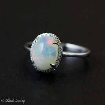 Halo Diamond Australian Opal Ring - Silver Opal Ring - Engagement Rings - Pave Diamond