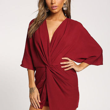 Burgundy Twisted Shift Mini Dress