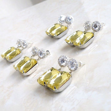 Pastel Yellow Earrings Foiled Octagon Rhinestone Silver Stud BEV1