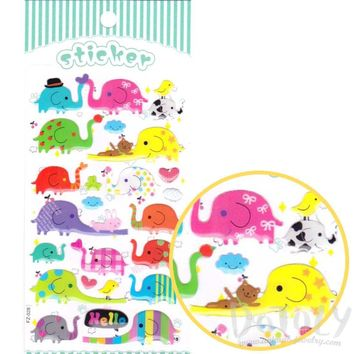 Colorful Cartoon Elephant Shaped Jelly Stickers for Scrapbooking