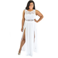 White Lace Paneled Double High Slit Plus Size Maxi Dress